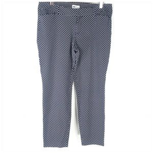 Old Navy Pixie Ankle Pant Blue White Splatter Dot